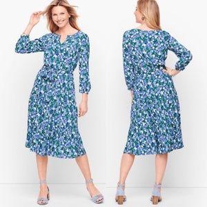Talbots Blue Floral Prairie Boho Cottagecore Dress